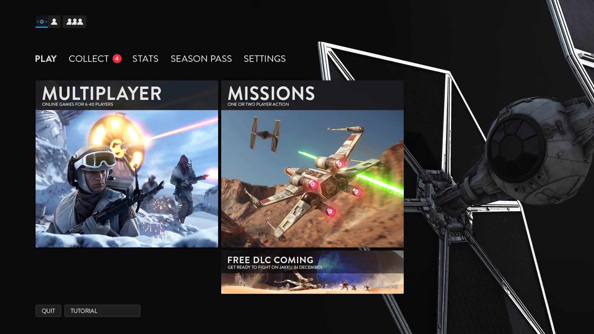 Battlefront Main Menu