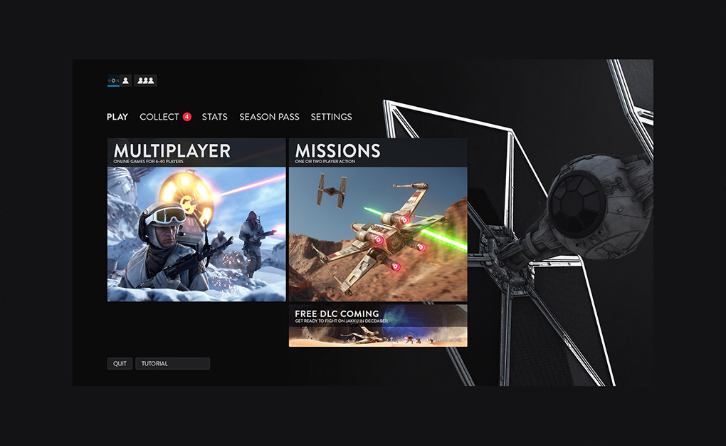 Star Wars Battlefront Dark Side Menus